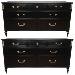 Pair French Directoire Style Ebonized Commodes by Maison Jansen For Sale