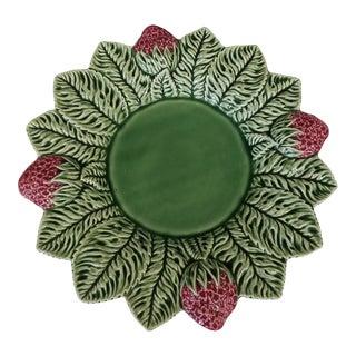1990s Bordallo Pinheiro Green Majolica Serving Plate For Sale