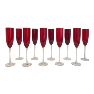 Ruby Red Long Stem Champagne Flutes - Set of 10 For Sale