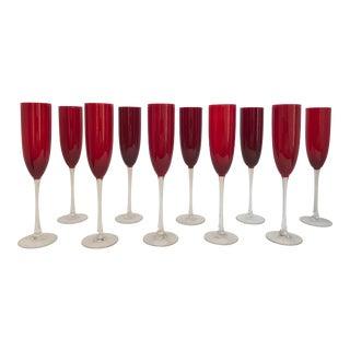Vintage Vivid Ruby Red Long Stem Champagne Flutes - Set of 10 For Sale