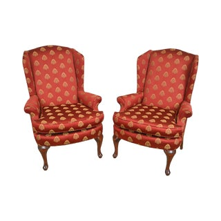 Queen Anne Style Red & Gold Pineapple Upholstered Pair of Wing Chairs For Sale