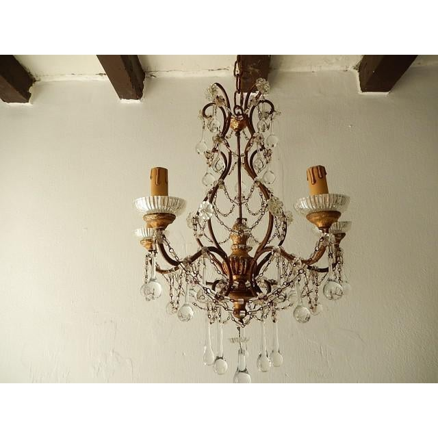 French Baroque Crystal Prisms Swags Old Chandelier For Sale - Image 11 of 11