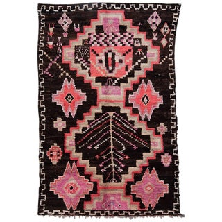 20th Century Moroccan Brown and Pink Wool Boujad Rug