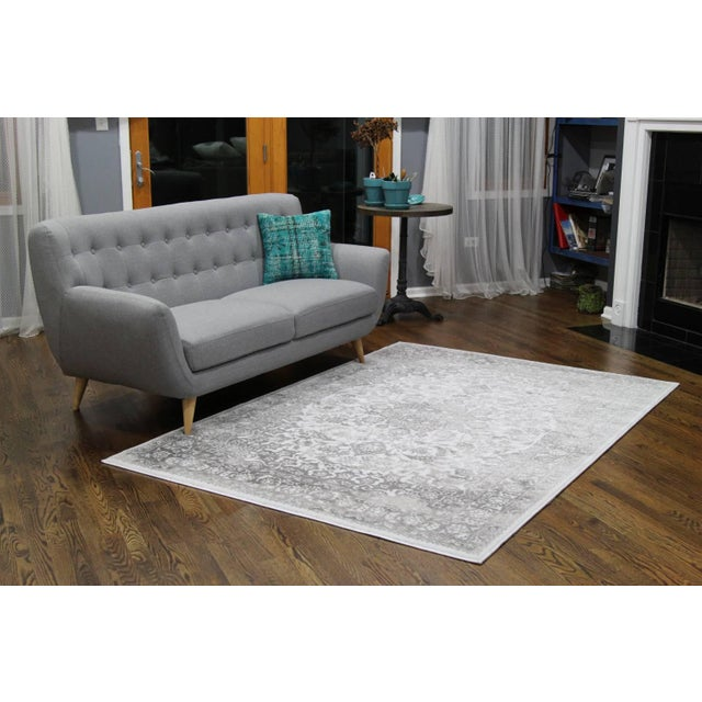 "Distressed Medallion Silver Gray Rug - 8' x 10'7"" - Image 6 of 8"
