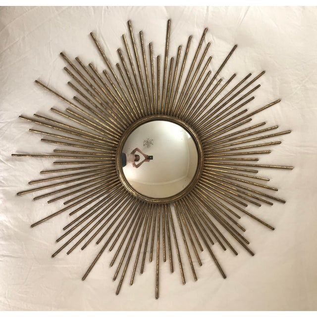 Contemporary Contemporary Brass Sunburst Mirror For Sale - Image 3 of 3