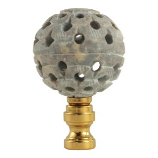 Reticulated Soapstone Ball Lamp Finial For Sale