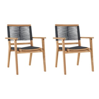 Oslo Teak Outdoor Stacking Armchair (Set of 2) For Sale