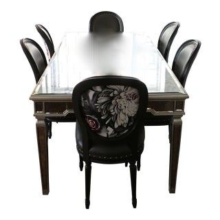 Mercury Glass Dining Table and Chairs Set