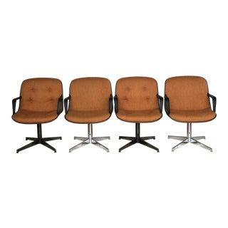 1980s Mid-Century Modern Burnt Orange Upholstered Swivel Chrome Armchairs - Set of 4 For Sale