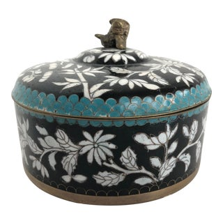 20th Century Chinese Cloisonne Enamel Floral & Bamboo Jar For Sale