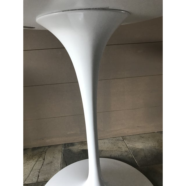 White Authentic Eero Saarinen for Knoll White Pedestal Table Base For Sale - Image 8 of 13