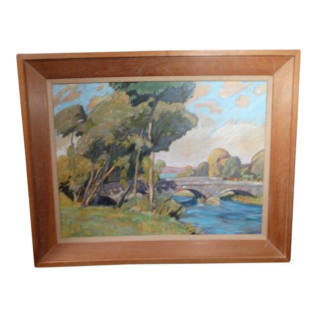 1930s Dan Burgess Landscape Painting With Bridge For Sale