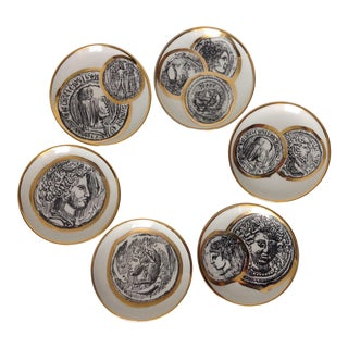 Final Markdown: C1950s Mid-Century Italian Porcelain Gilt Roman Coin Drinks Coasters - Boxed Set 6 For Sale