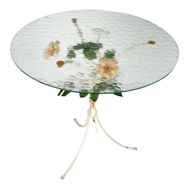 Italian Floral Tole Side Table For Sale