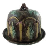 Image of Majolica Leaf Cheese Dome For Sale
