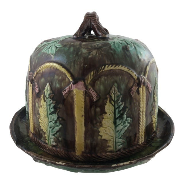 Majolica Leaf Cheese Dome For Sale