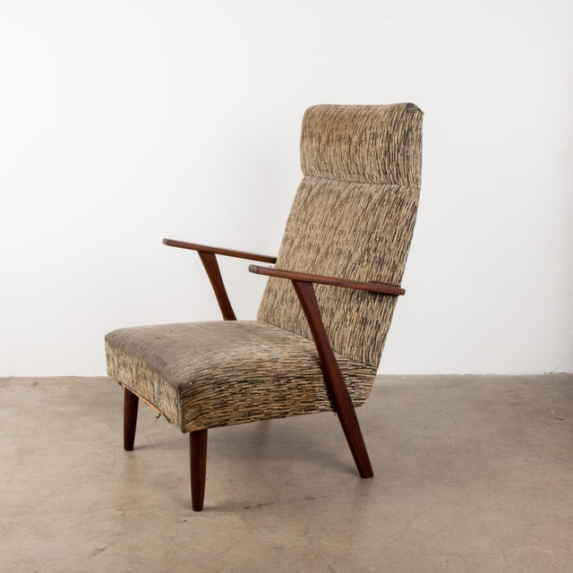 Brown 1960s Mid-Century Modern High-Back Chair For Sale - Image 8 of 8