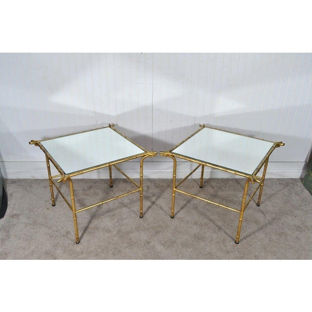 Pair Vintage Italian Hollywood Regency Faux Bamboo Gold Gilt Mirror Side Tables For Sale - Image 9 of 12