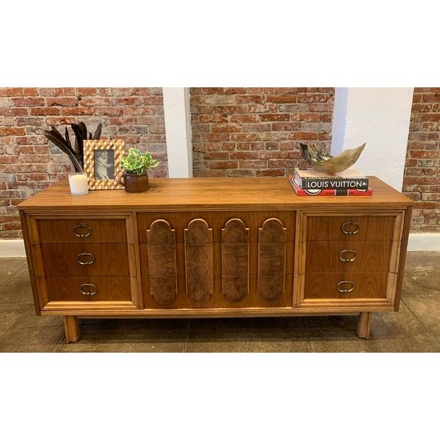 Mid Century Modern - Custom 1960's Burl Wood Dresser For Sale - Image 10 of 11