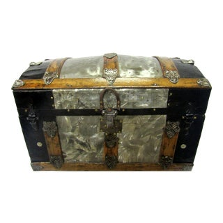 Antique Crystallized Metal Ladies Trunk For Sale