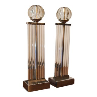 Art Deco Chrome and Glass Column Andirons For Sale