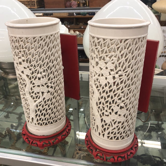 1930s Antique Porcelain Chinese Bamboo Silhouette Lanterns - A Pair For Sale - Image 13 of 13