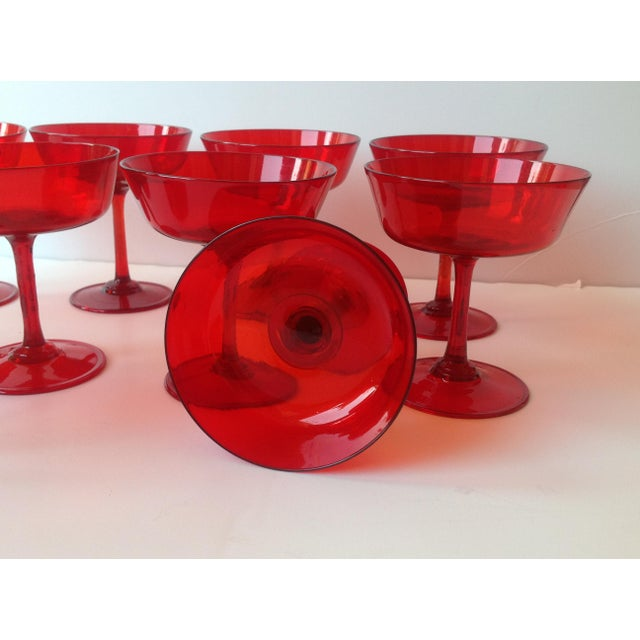 Mid-Century Ruby Red Crystal Coupe Champagne Glasses - Set of 11 For Sale - Image 4 of 6