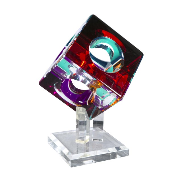 Hollow Colored Acrylic Cube Sculpture on Base For Sale
