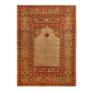 Antique Hereke Golden-Beige and Red Floral Silk Rug 4′ × 5′3″ For Sale