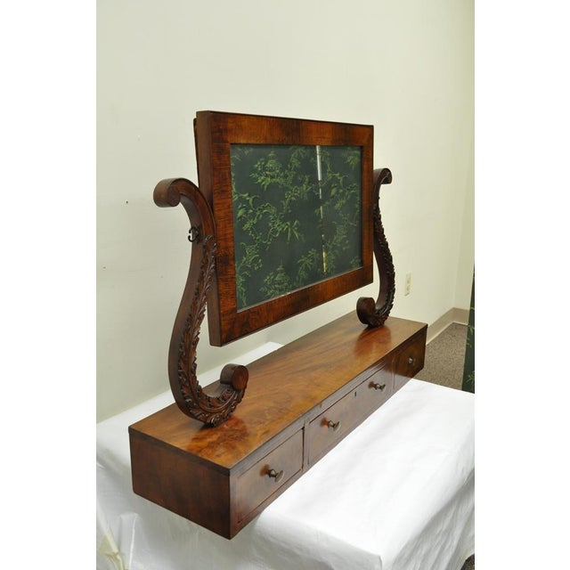 Early American 19th C. American Empire Carved Mahogany Shaving Vanity Mirror For Sale - Image 3 of 13
