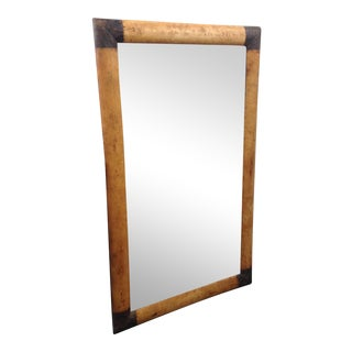 Metal Capped Full Length Leather Mirror For Sale