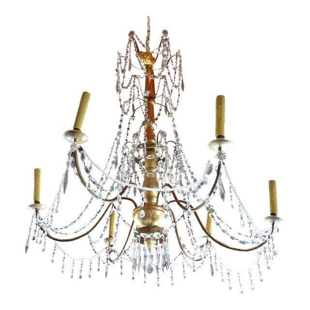 19th Century Italian Crystal Chandelier For Sale