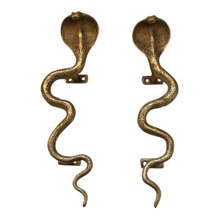 Hollywood Regency Gold Cobra Door Handles- a Pair