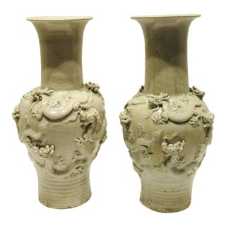 Chinese Pottery Vases With Raised Dragons and Crackle Glaze - a Pair For Sale