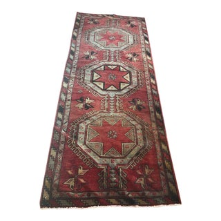 1970's Vintage Turkish Hand Knotted Runner- 3′7″ × 9′4″ For Sale