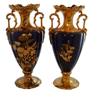 Pair of 19th Century French Cobalt Blue Hand-Painted Gold Accent Porcelain Vases For Sale