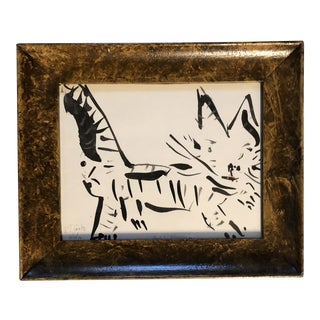 """Contemporary Robert Cooke """" Baby Blossom"""" Abstract Cat Painting For Sale"""