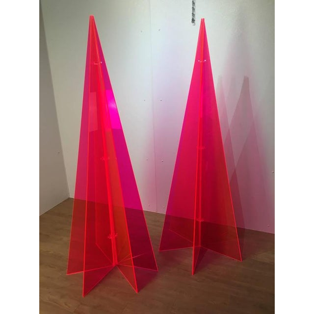 1970s Pink Lucite Tree Form Sculptures - a Pair - Image 2 of 8