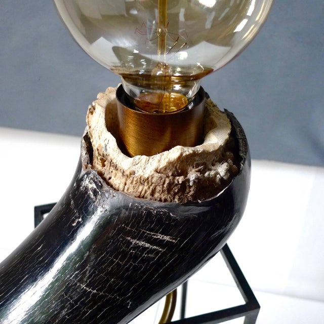 Modern Wildebeest Horn Table Lamp, Sander Bottinga For Sale - Image 3 of 9
