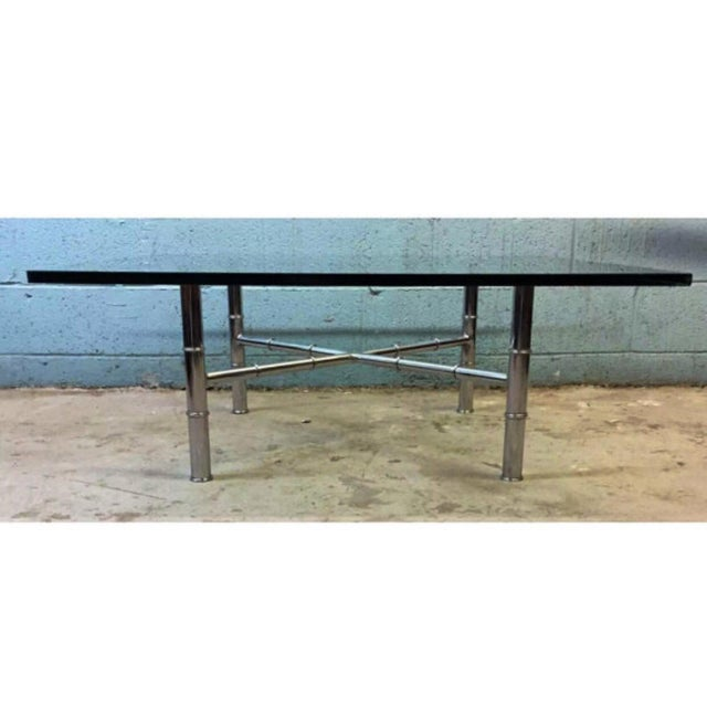 Chrome Faux Bamboo Coffee Table - Image 2 of 6