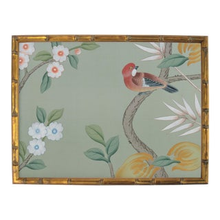 Chinoiserie Remnant on Sage Colored Silk For Sale
