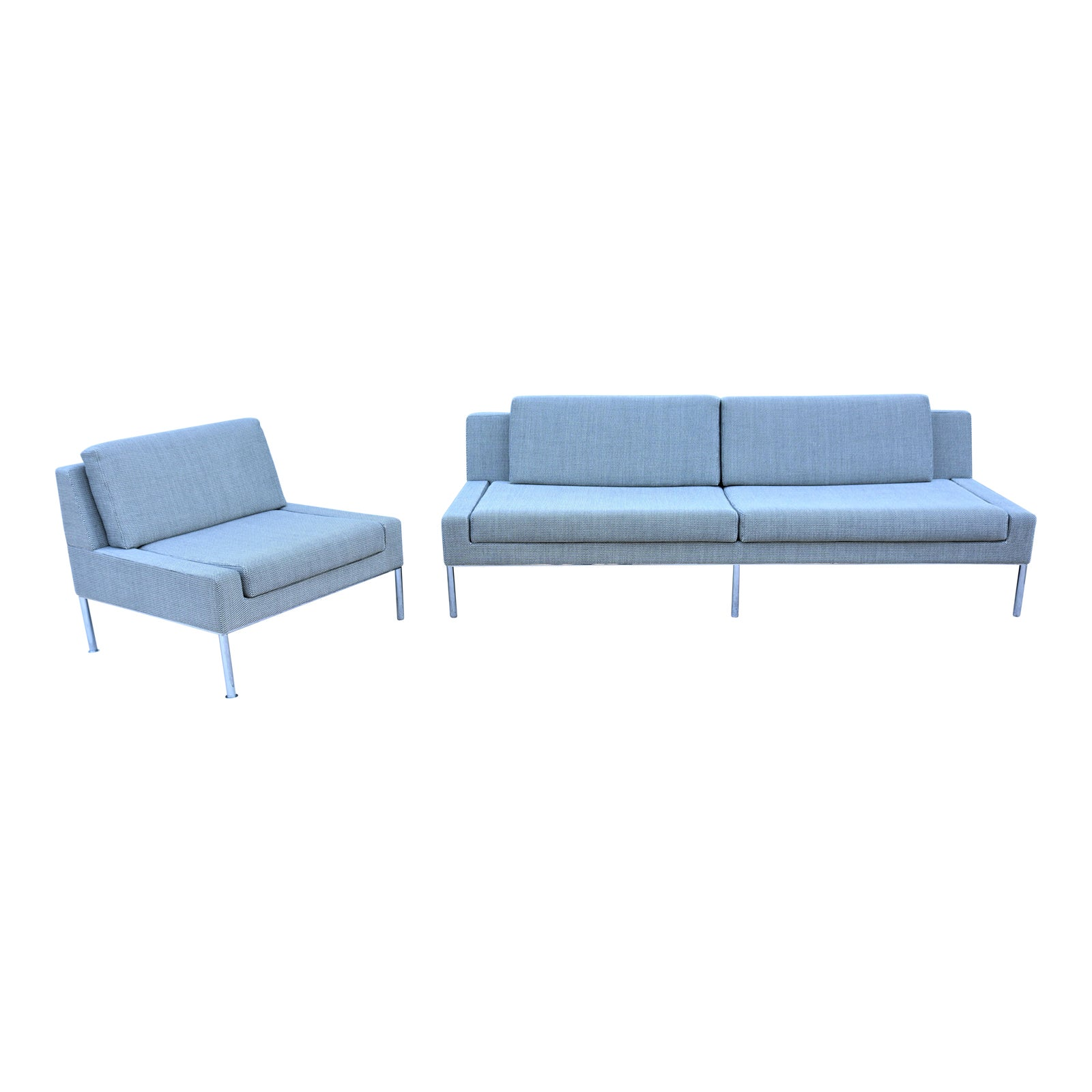 Modern Robin Rizzini for Keilhauer Dario Armless Sofa and Lounge Chair -  Set of 2