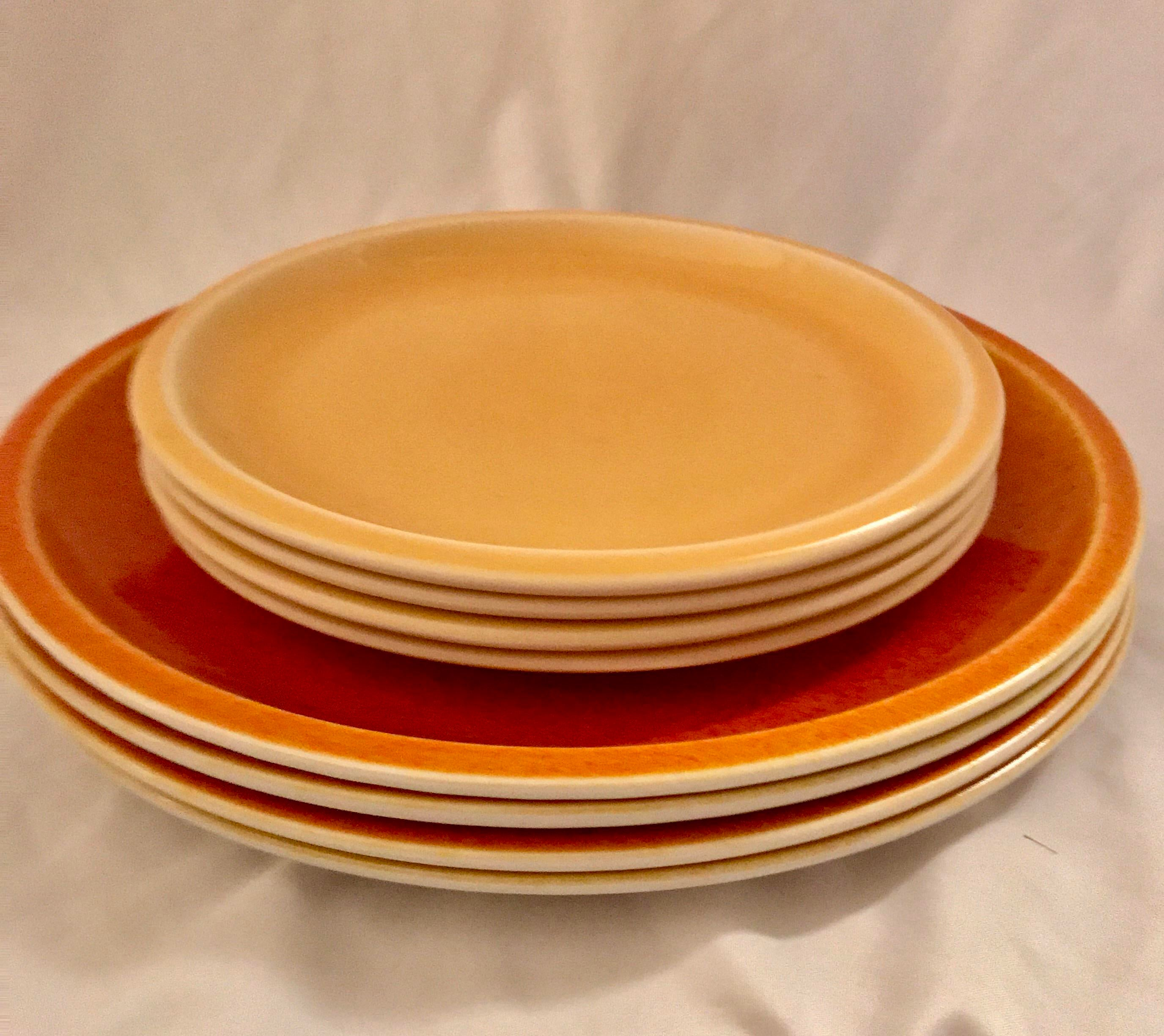 Jars of France Orange Dinner Plates u0026 Yellow Salad Plates - 8 Pieces - Image 3 & Jars of France Orange Dinner Plates u0026 Yellow Salad Plates - 8 Pieces ...