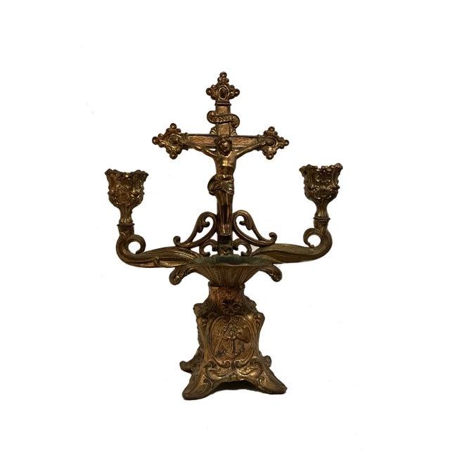 Metal Vintage Brass Holy Water Font Candelabra For Sale - Image 7 of 7