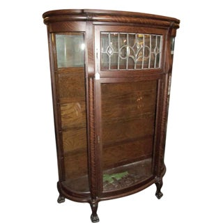 Antique Victorian Tiger Oak China Cabinet With Leaded Glass For Sale