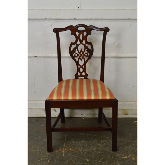 1990s Baker Historic Charleston Collection Chippendale Style Mahogany Side Chair For Sale - Image 5 of 13