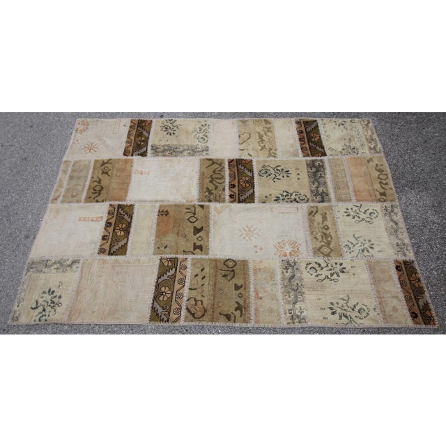 Vintage Turkish Patchwork Oushak Rug - 5′10″ × 8′5″ - Image 2 of 6