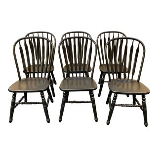 Set of 6 Black Stained Windsor Chairs For Sale