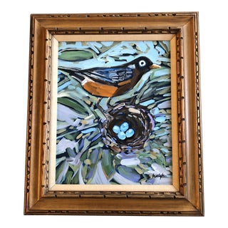 """Original Contemporary Stephen Heigh Abstract """"Summer Robins Nest"""" Painting Vintage Frame For Sale"""