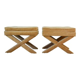 "Vintage Mid Century Tan Mohair ""X"" Benches- A Pair For Sale"